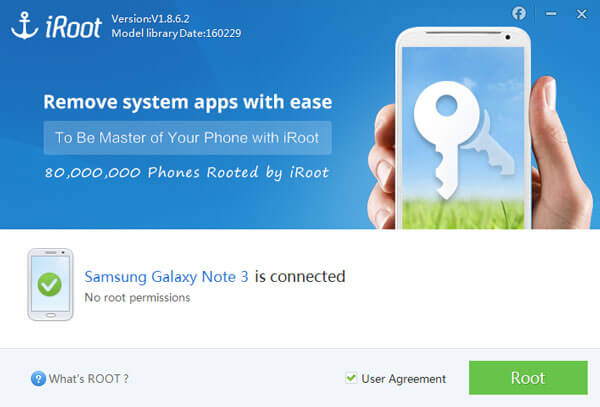 Root Android-puhelin, jossa iRoot