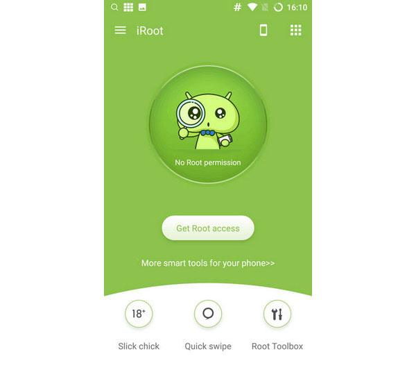 Juuri Android-puhelin iRoot APK: lla