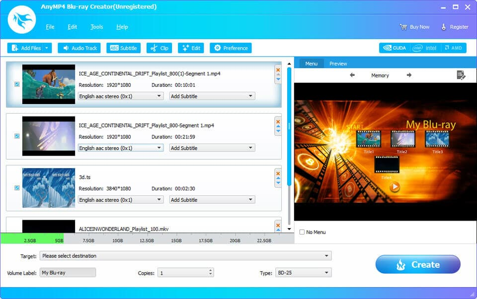 AnyMP4 Blu-ray Creator full screenshot