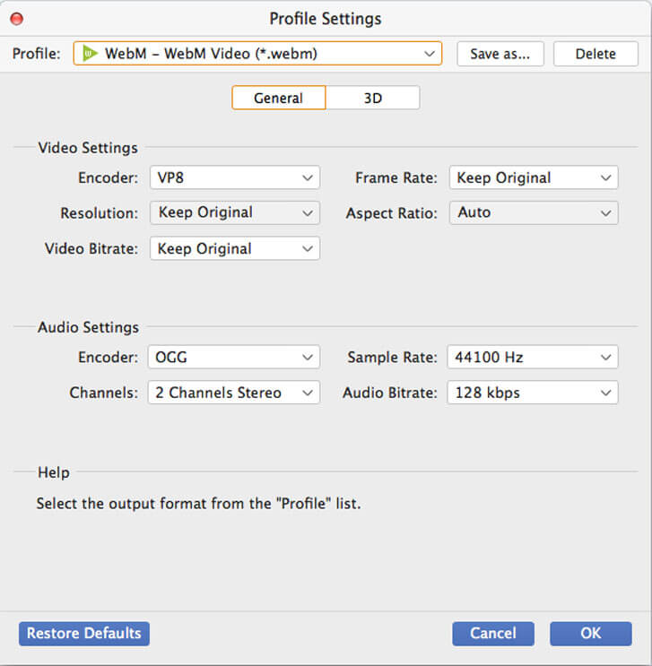 Choose Webm as output format