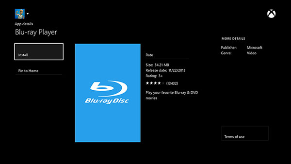 Play blu ray on Xbox One