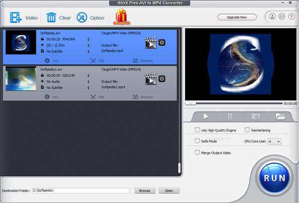 WinX Free AVI to MP4 Converter