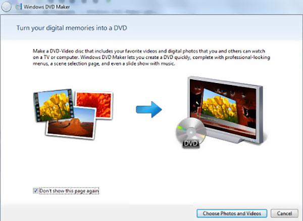 Avaa Windows DVd Maker