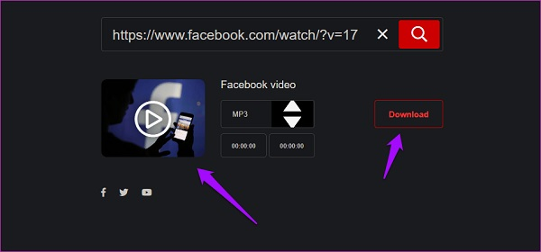 Extract audio from facebook video hub