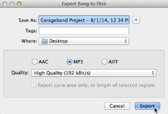 Vie Garageband MP3: ään