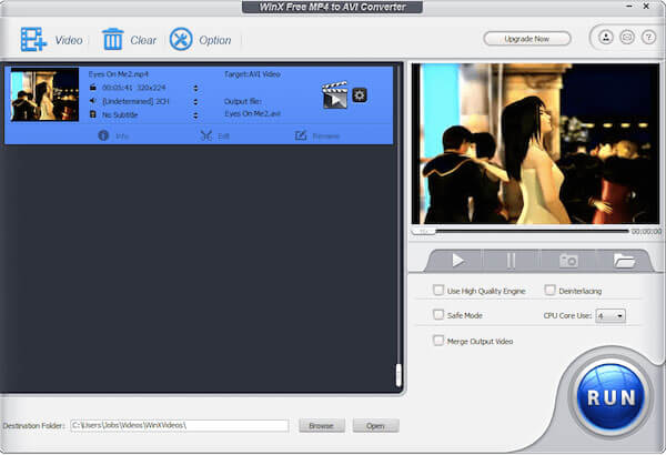 WinX Free MP4 to AVI Converter