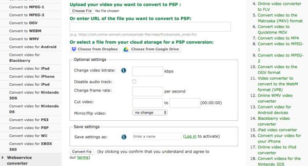 Online muuntaa psp-muunnin
