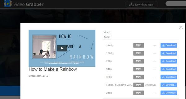 Lataa Vimeo MP4iin Video Grabberilla