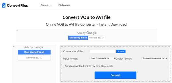 Online-muuntaminen VOB AVI: ksi