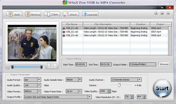 WinX Free VOB MP4-muuntimelle