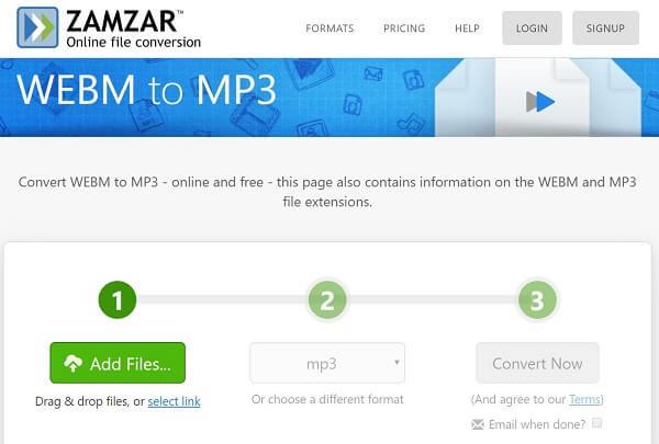 Zamzarin WebM to MP3 Converter