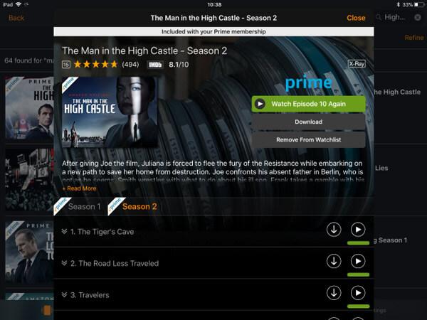 Amazon prime -videolataus iPadiin
