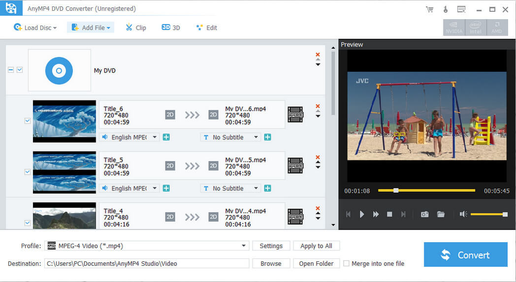 AnyMP4 DVD Converter Screen shot