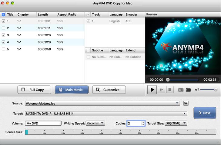 Valitse DVD-kopiointitilan näyttö