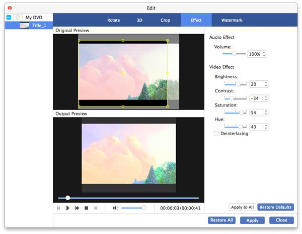Muokkaa videon tehoa