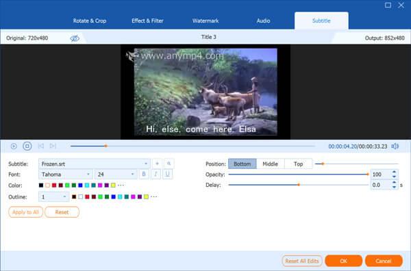 Muokkaa DVD-otsikon tekstitystä