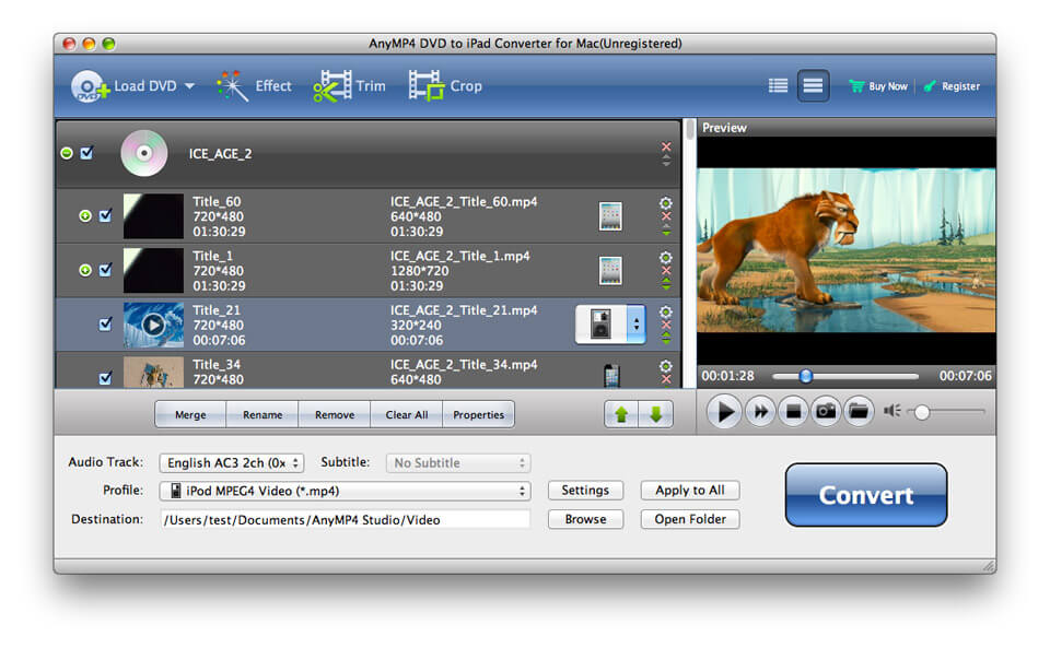 AnyMP4 DVD to iPad Converter for Mac 6.1.58 full
