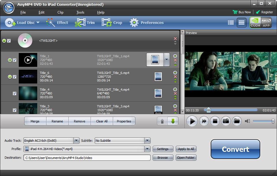 Windows 7 AnyMP4 DVD to iPad Converter 6.2.18 full