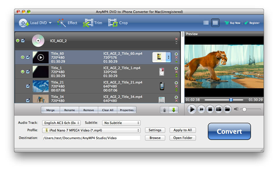 AnyMP4 DVD to iPhone 5 Converter for Mac 6.1.28 full