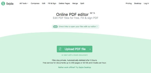 Muokkaa PDF-tiedostoa Sejda Online PDF Editorilla