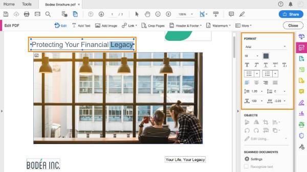 Muokkaa PDF-tiedostoa Adobe Acrobat Pro -ohjelmalla