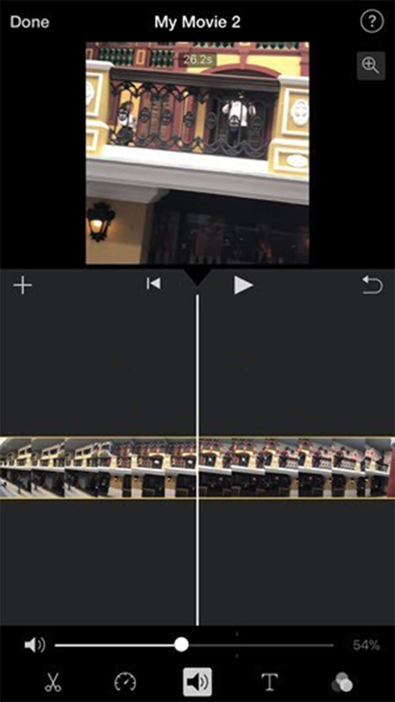 Vaihda videon äänenvoimakkuus imovie iPhone