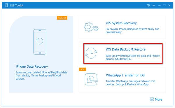Valitse iOS -tietojen varmuuskopiointi ja palautus