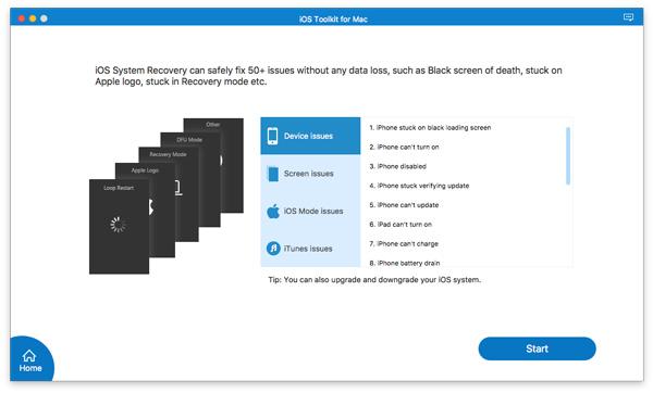 Napsauta Käynnistä iOS -järjestelmän palautus