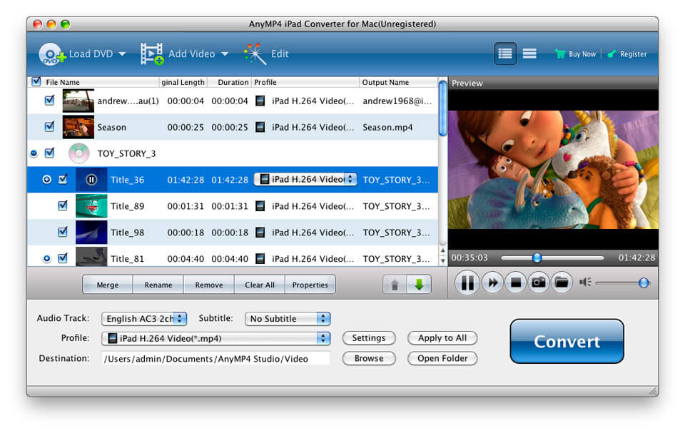 Convert DVD and popular videos to iPad.