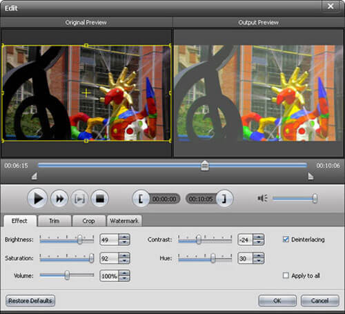 Edit video effect