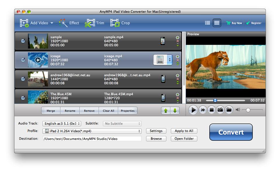 AnyMP4 iPad Video Converter for Mac 6.2.10 full