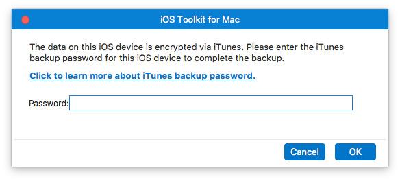 Anna iTunes-varmuuskopiosalasana Mac
