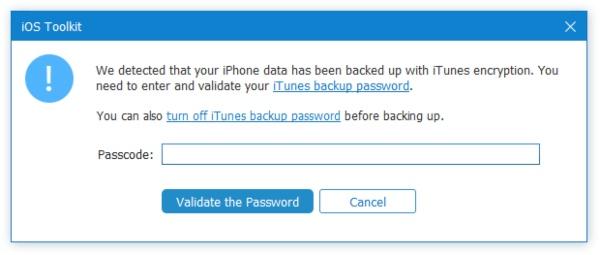 Syötä iTunes-salaussalasana