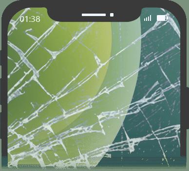 iPhonen näyttö on rikki.
