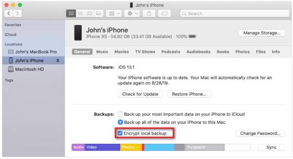 iTunesin varmuuskopiointisalaus Macissa