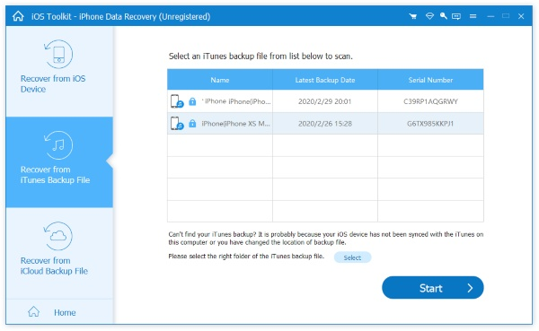Choose Recover from iTunes Backup