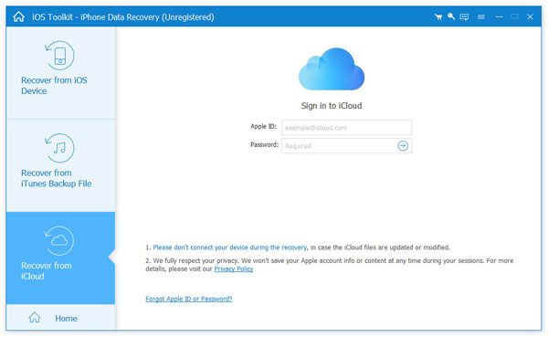 Sign in iCloud
