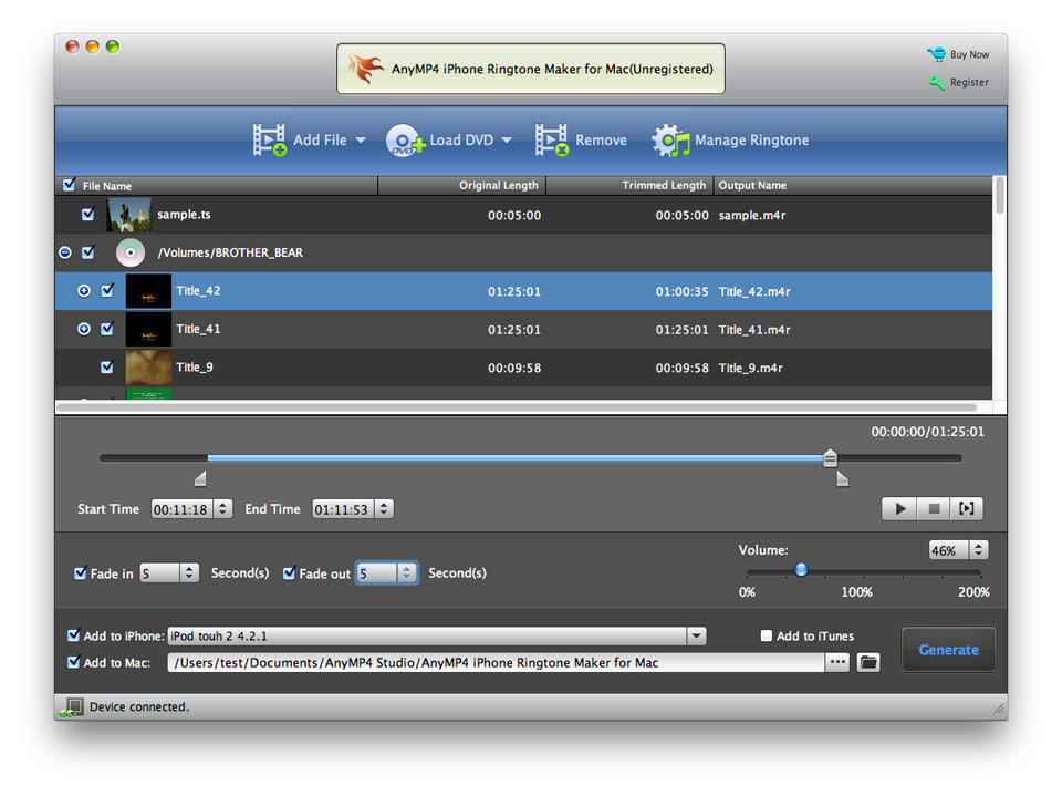 AnyMP4 iPhone Ringtone Maker for Mac screenshot