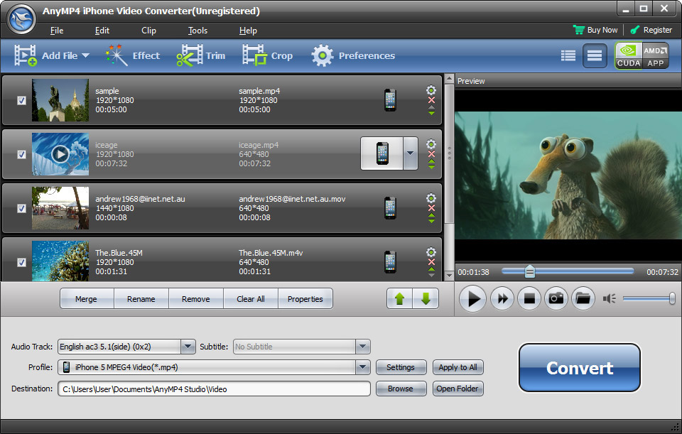 Click to view AnyMP4 iPhone Video Converter screenshots