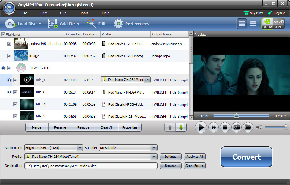 Click to view AnyMP4 iPod Converter screenshots