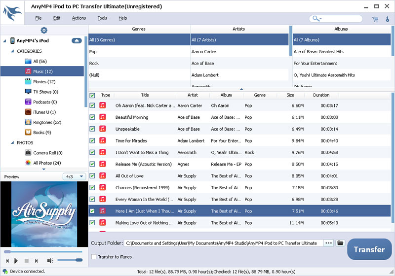 AnyMP4 iPod to PC Transfer Ultimate screenshot
