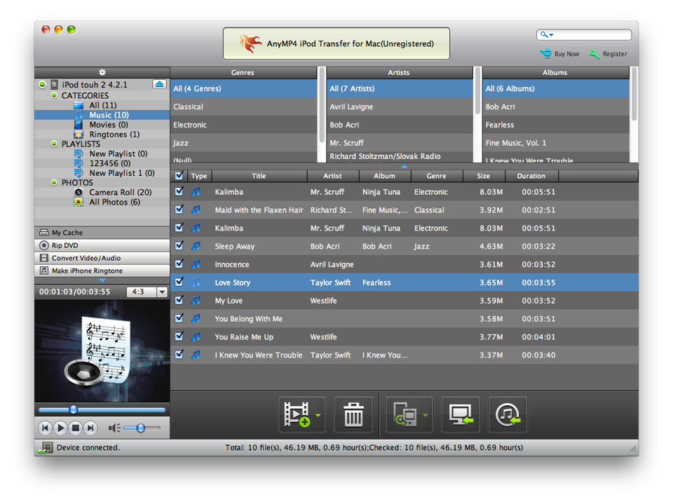 AnyMP4 iPod Transfer for Mac screenshot