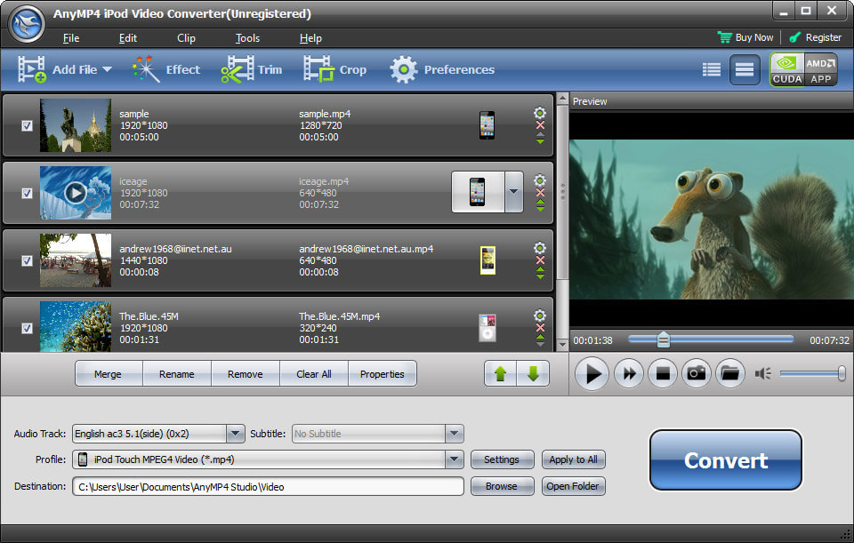 Click to view AnyMP4 iPod Video Converter screenshots