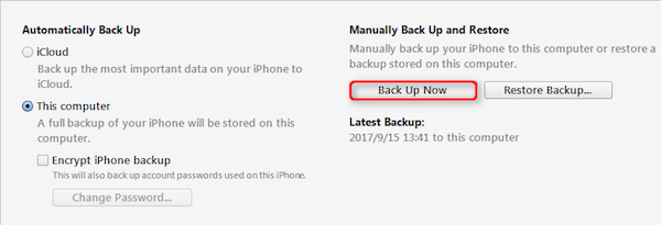 Backup Data via iTunes