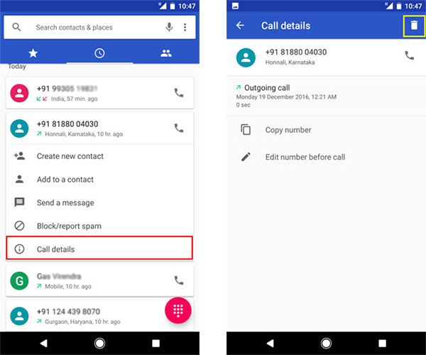 Delete Call History on Google Phone