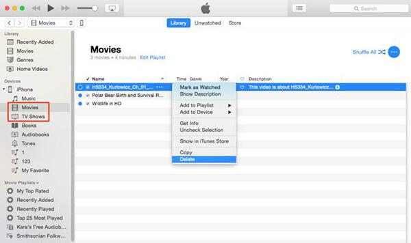 Poista videot iTunes