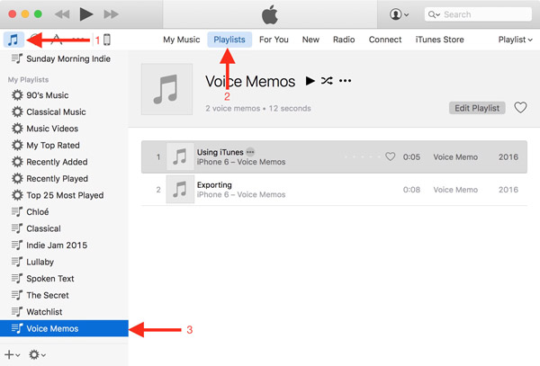 Delete Voice Memos via iTunes