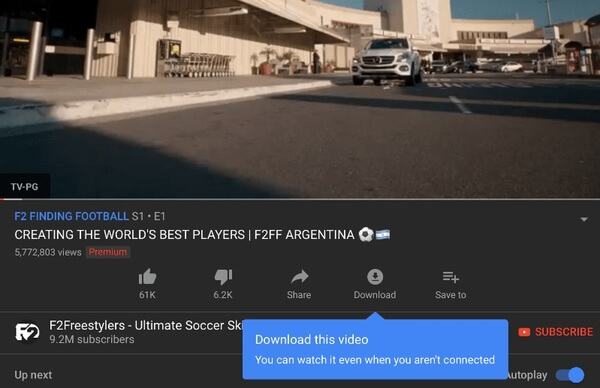 Download video with YouTube Premium