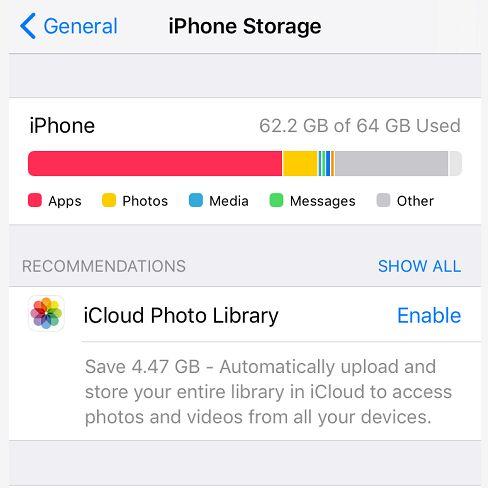 Tarkista iPhonen tallennustila