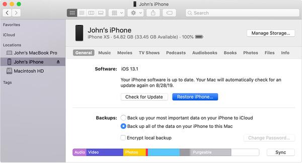 Palauta iPhone iTunesilla